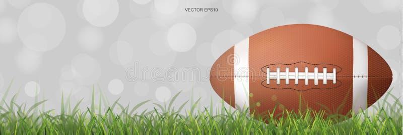 橄榄球球有绿草领域和光背景弄脏了bokeh 库存例证