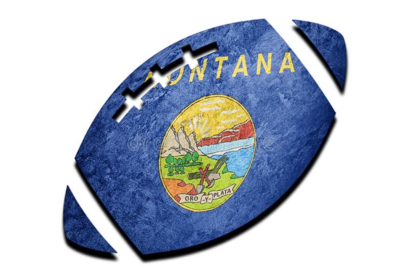 橄榄球球蒙大拿状态旗子 蒙大拿旗子背景橄榄球bal 免版税库存照片