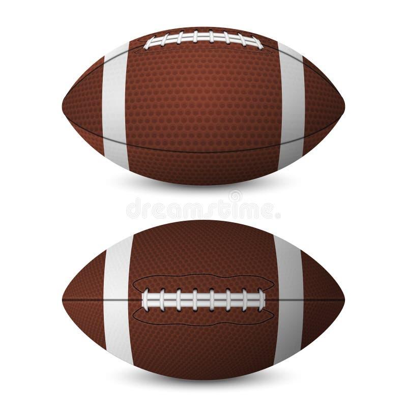 橄榄球球设置了-正面图,侧视图 向量例证