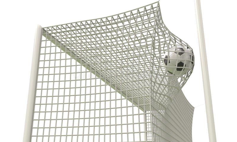 橄榄球球飞行入净门特写镜头 向量例证