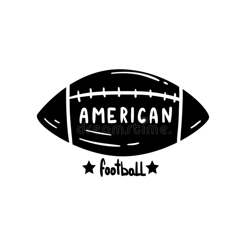 橄榄球球,商标的,徽章在白色背景的传染媒介例证手拉的减速火箭的设计元素 向量例证