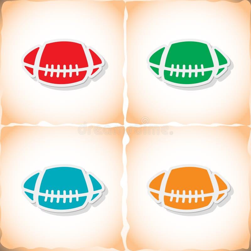 橄榄球球 与阴影的平的贴纸在老纸 向量例证