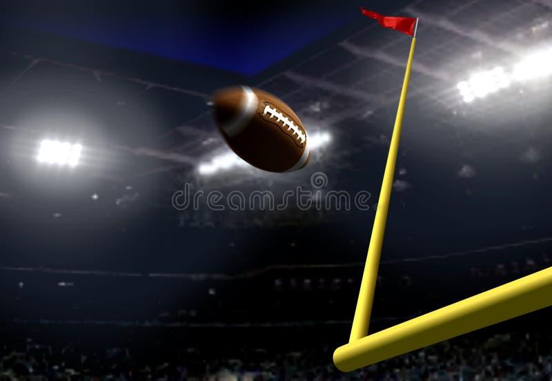 橄榄球目标比分在一个体育场内在晚上 库存图片