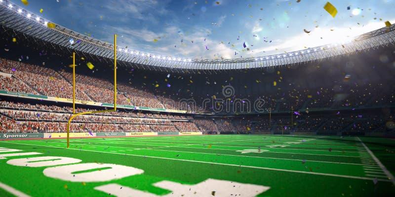 橄榄球竞技场体育场天冠军胜利 蓝色定调子 图库摄影