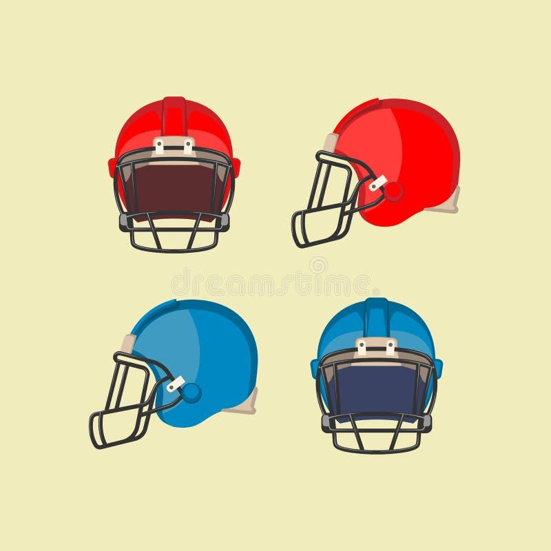 橄榄球红色蓝盔部队前方视图 库存例证