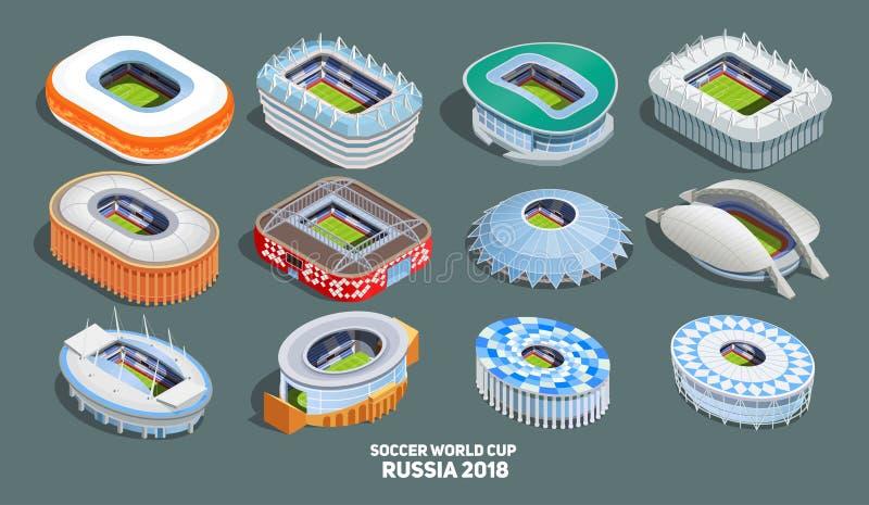 橄榄球被设置的世界杯象 向量例证