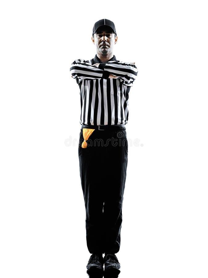 橄榄球裁判员打手势剪影 免版税库存图片