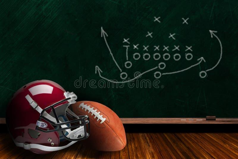 橄榄球设备和粉笔板戏剧战略背景 库存图片