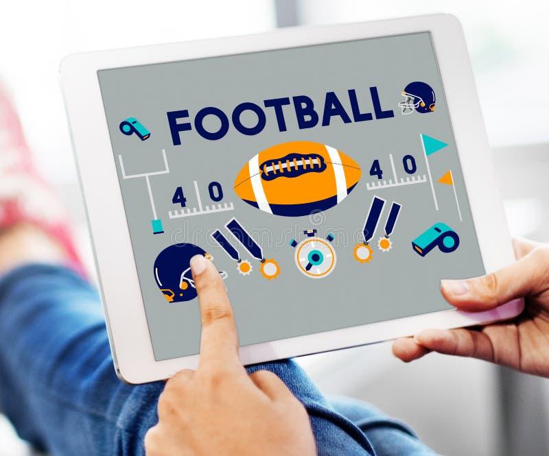 橄榄球赛球戏剧体育图表概念 免版税图库摄影