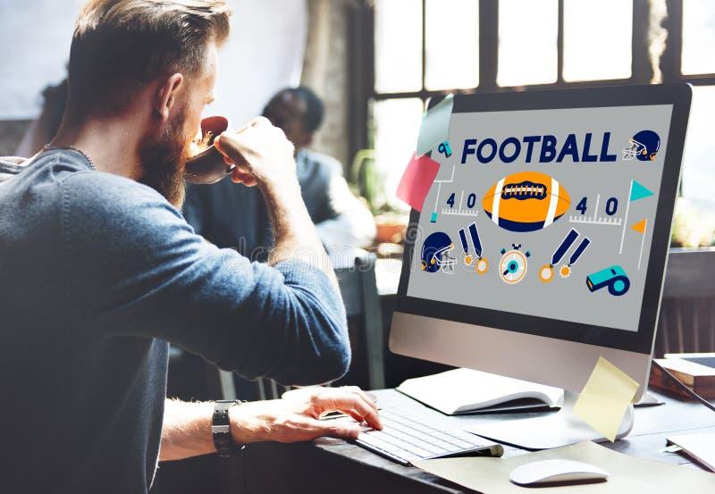 橄榄球赛球戏剧体育图表概念 免版税库存图片