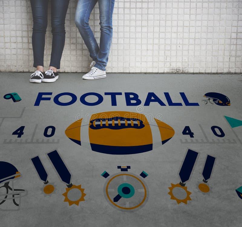 橄榄球赛球戏剧体育图表概念 图库摄影