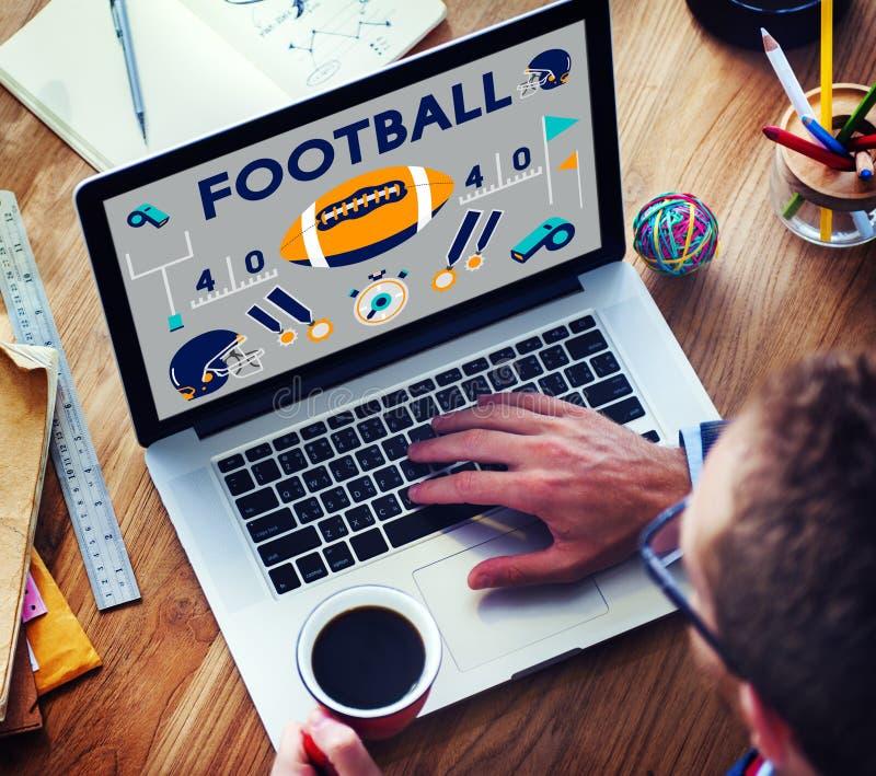橄榄球赛球戏剧体育图表概念 库存照片