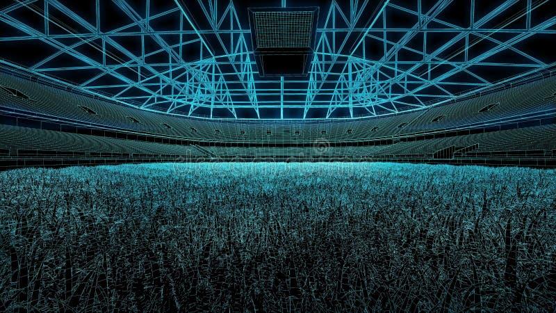 橄榄球足球场3D草稿 库存照片