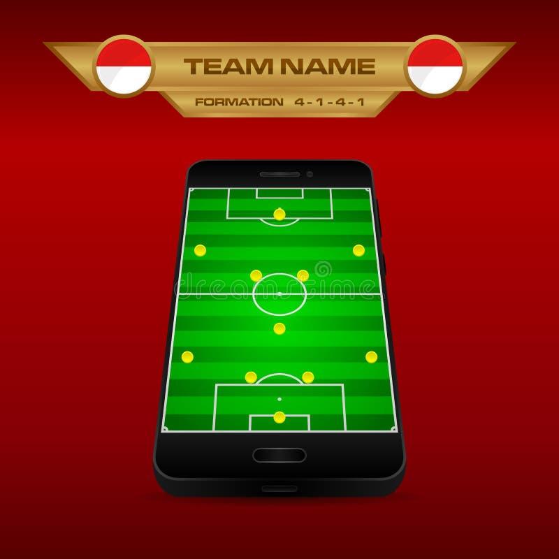 橄榄球足球形成与透视领域的战略模板在智能手机4-1-4-1 皇族释放例证
