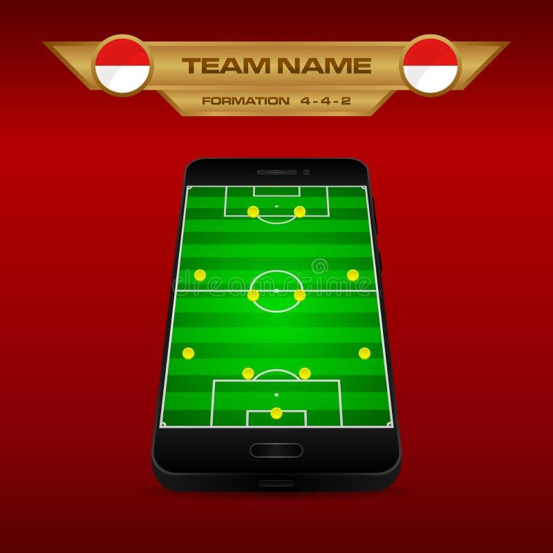 橄榄球足球形成与透视领域的战略模板在智能手机4-4-2 向量例证