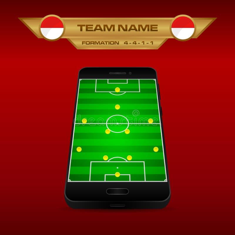 橄榄球足球形成与透视领域的战略模板在智能手机4-4-1-1 库存例证