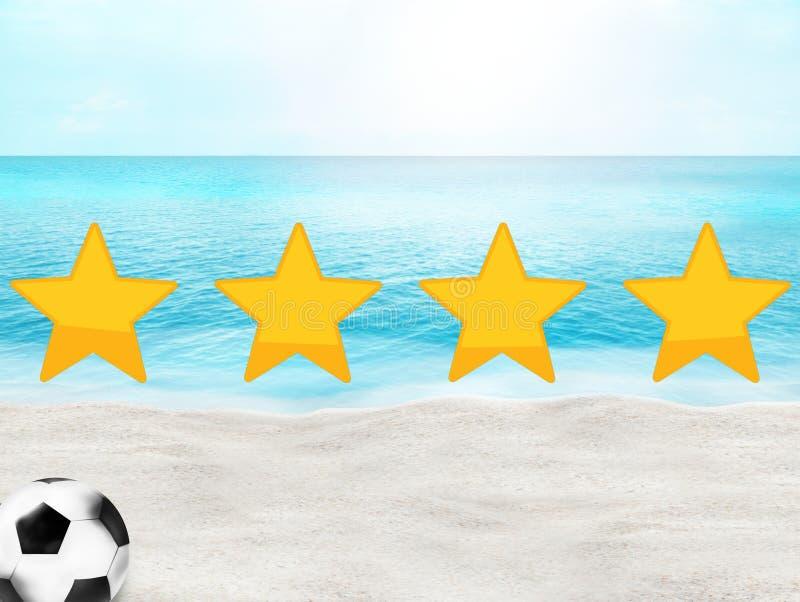 橄榄球足球海滩晴朗的3D背景设计 库存例证