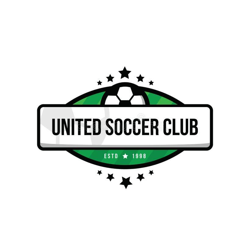 橄榄球队商标与球和在绿色和白色背景 足球队员传染媒介艺术的徽章 球、星和绿色 库存例证