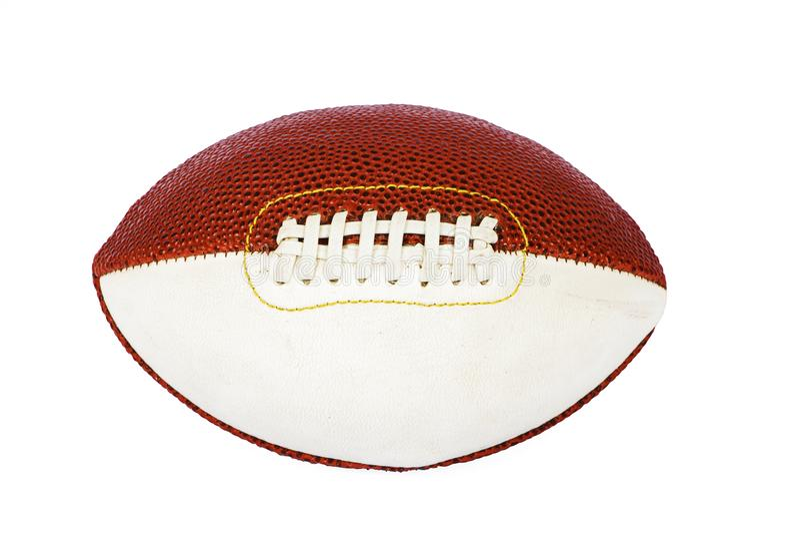 橄榄球,在白色背景用皮革包盖隔绝 橄榄球的球 橄榄球的一个球 免版税库存照片