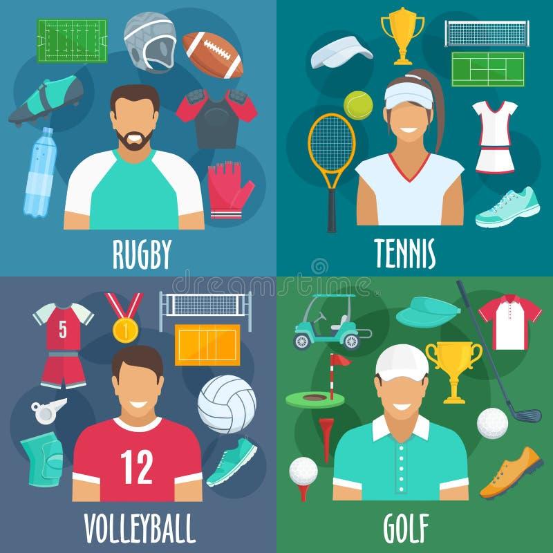 橄榄球,网球,排球,高尔夫球体育象 向量例证