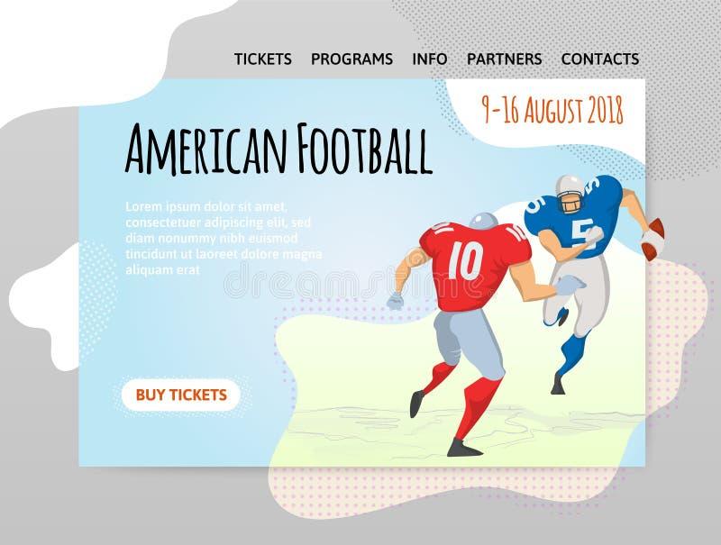 橄榄球 导航illutration、体育站点设计模板,横幅或者海报 皇族释放例证