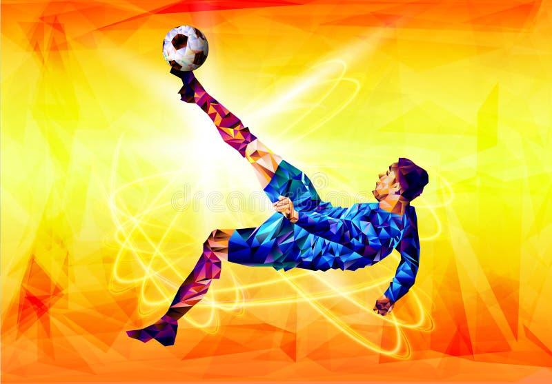 橄榄球2018年世界冠军杯子背景足球多角形五颜六色的图  库存例证
