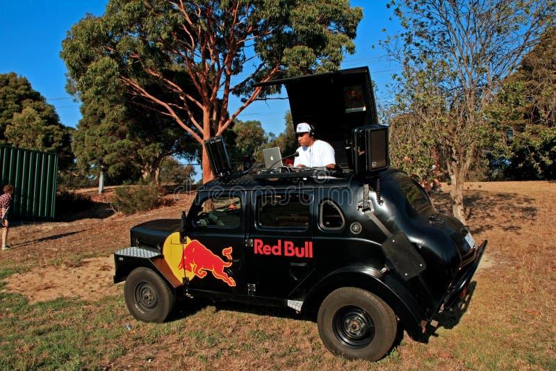 橄榄球7橄榄球场的DJ 免版税图库摄影