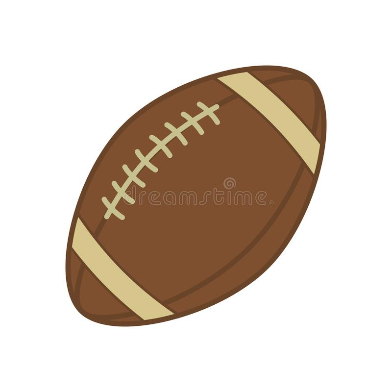 橄榄球 橄榄球的体育球 在空白背景查出的向量图标 有吸引力的配件箱剪影坐的向量妇女 平的illustratio 向量例证