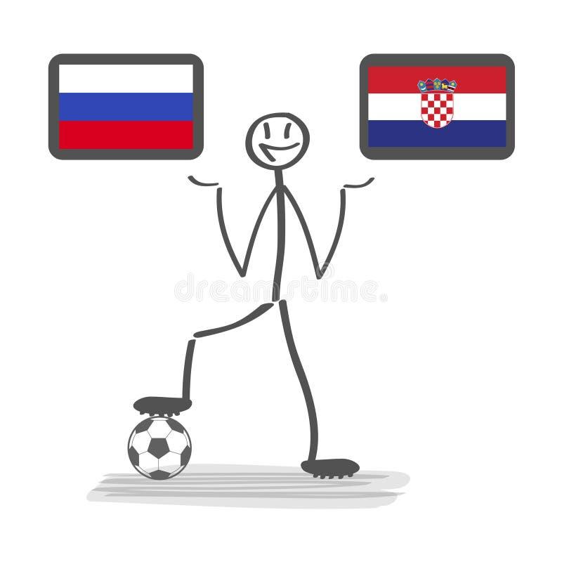 橄榄球-足球背景愉快的人保留旗子,传染媒介stackman俄罗斯对克罗地亚四分之一决赛1/4 皇族释放例证