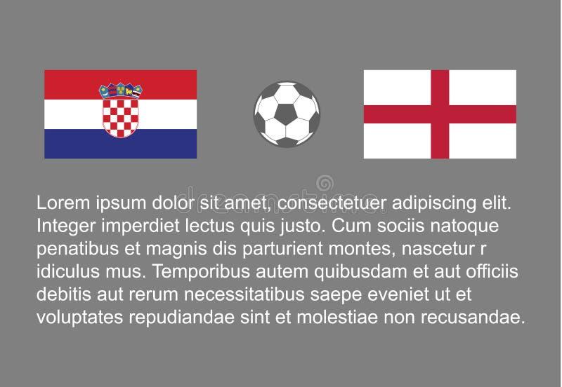 橄榄球-足球背景愉快的人保留旗子,传染媒介stackman克罗地亚对英国半决赛1/2 皇族释放例证