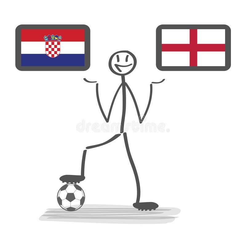 橄榄球-足球背景愉快的人保留旗子,传染媒介stackman克罗地亚对英国半决赛1/2 向量例证
