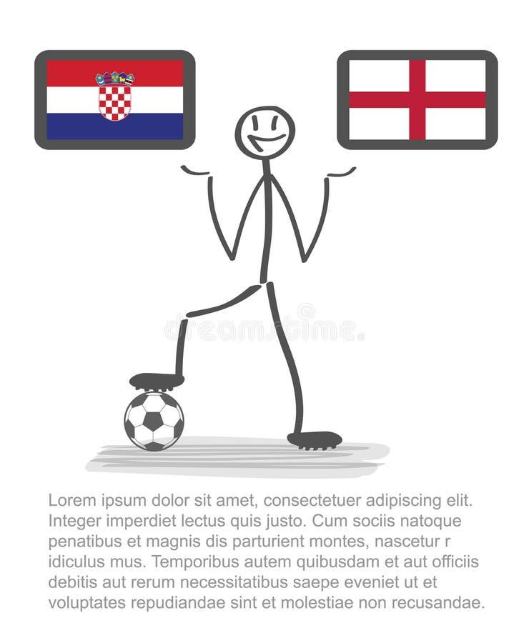 橄榄球-足球背景愉快的人保留旗子,传染媒介stackman克罗地亚对英国半决赛1/2 库存例证