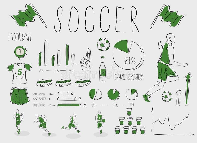 橄榄球infographic足球 库存例证