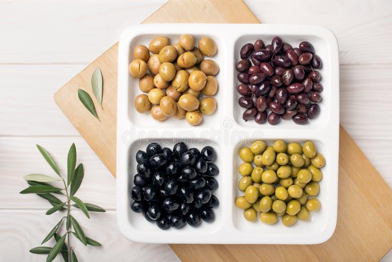 橄榄的四种类型 免版税库存照片