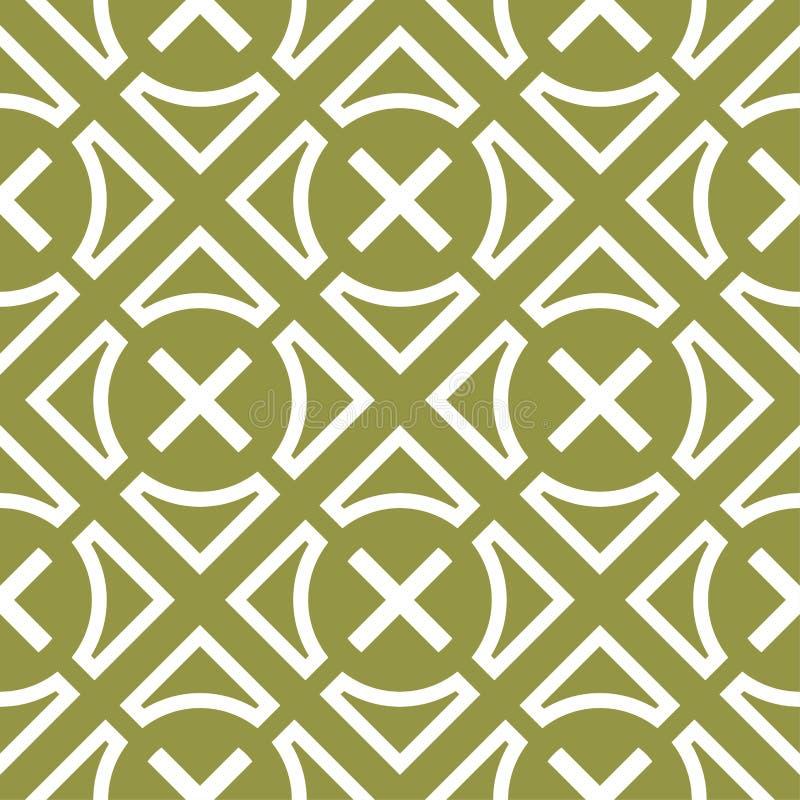 橄榄绿和白色几何装饰品 无缝的模式 库存例证