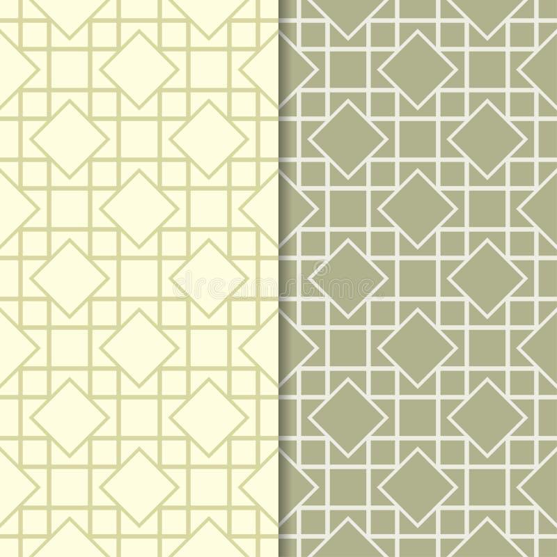 橄榄绿套无缝的几何样式 向量例证