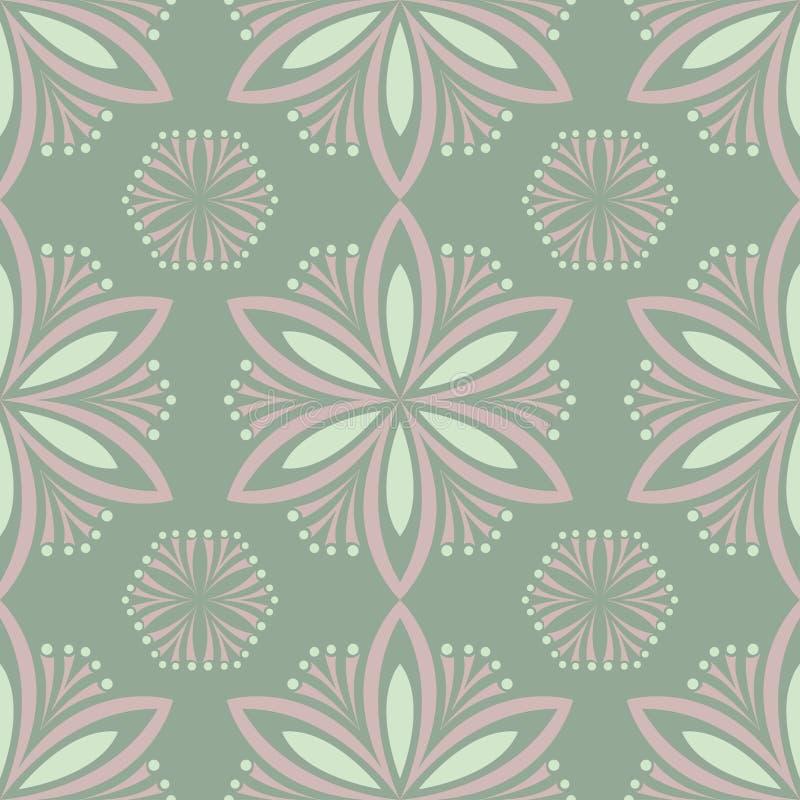橄榄绿花卉无缝的样式 与花设计的背景 库存例证