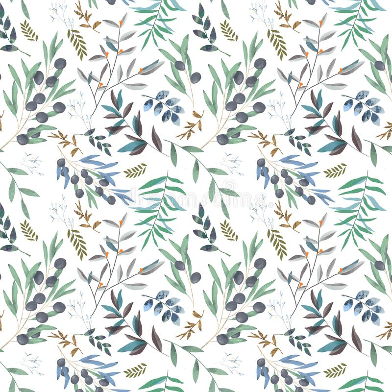 橄榄色的无缝的样式数字式剪贴美术水彩图画开花例证相似在白色背景 向量例证