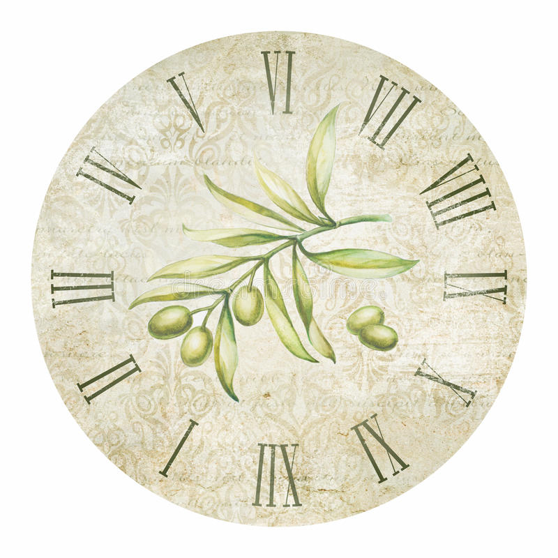 橄榄色的时钟 皇族释放例证