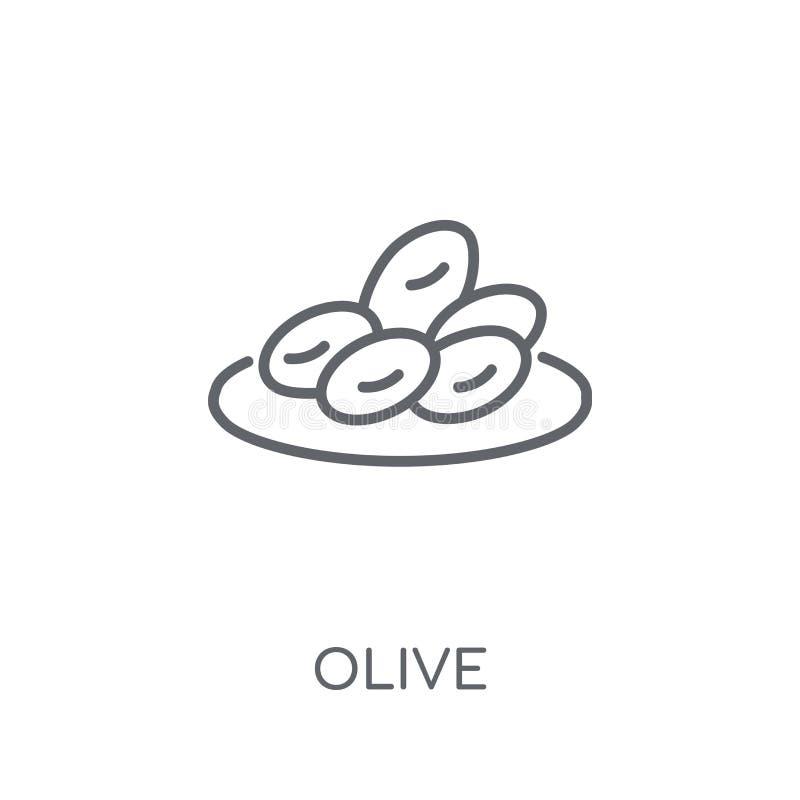 橄榄色的线性象 现代在白色ba的概述橄榄色的商标概念 向量例证