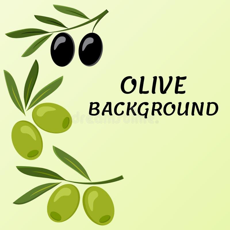 橄榄色的背景 黑和绿色分支橄榄 ?? 皇族释放例证