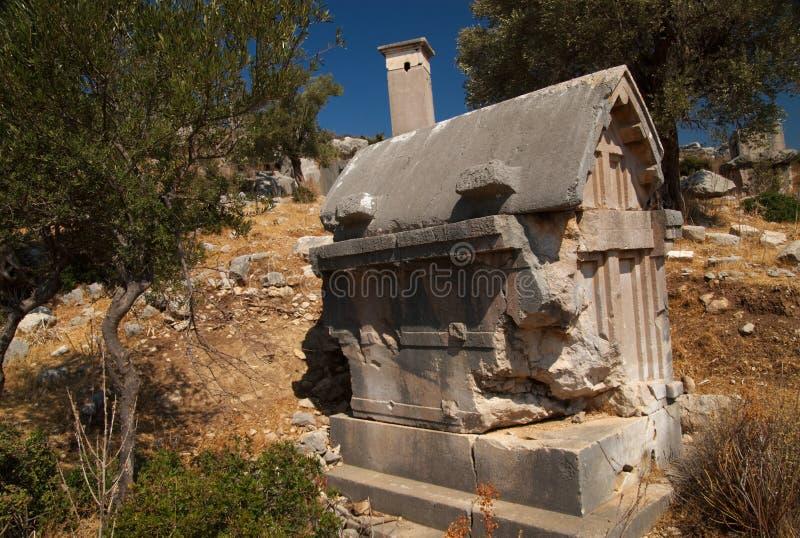 橄榄色石棺结构树火鸡xanthos 图库摄影
