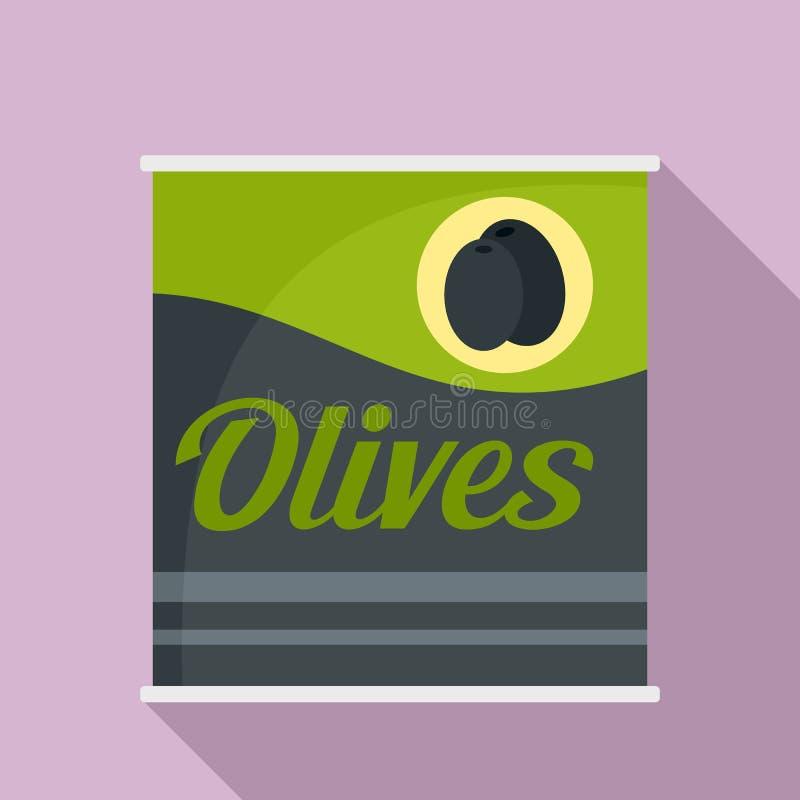 橄榄装象,平的样式于罐中 库存例证