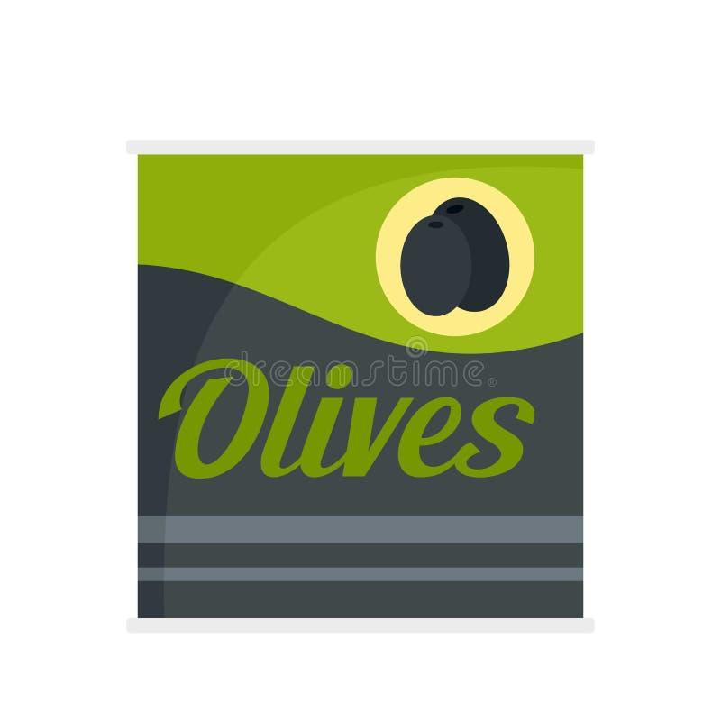 橄榄装象,平的样式于罐中 向量例证