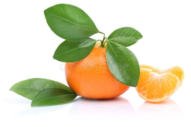 橘子与被隔绝的叶子的蜜桔切片 库存照片