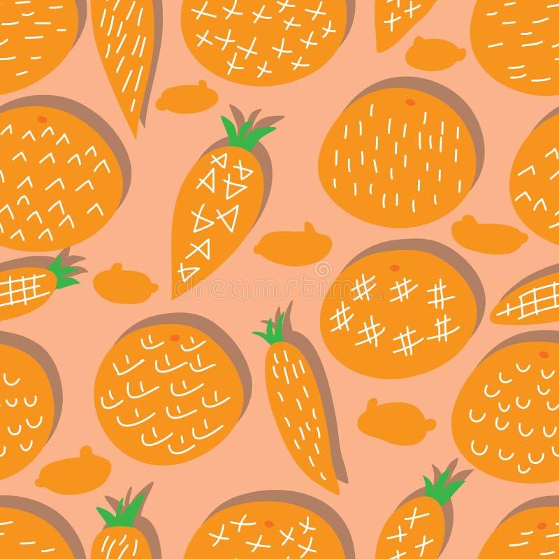 橘黄色红萝卜自由样式兔子装饰无缝的样式 皇族释放例证