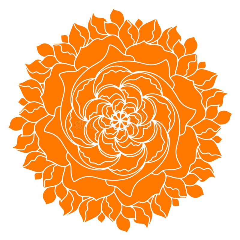 橘黄色葡萄酒斯堪的纳维亚传染媒介象花形状 为eco、素食主义者、瑜伽、草本医疗保健或者自然关心概念完善 库存例证