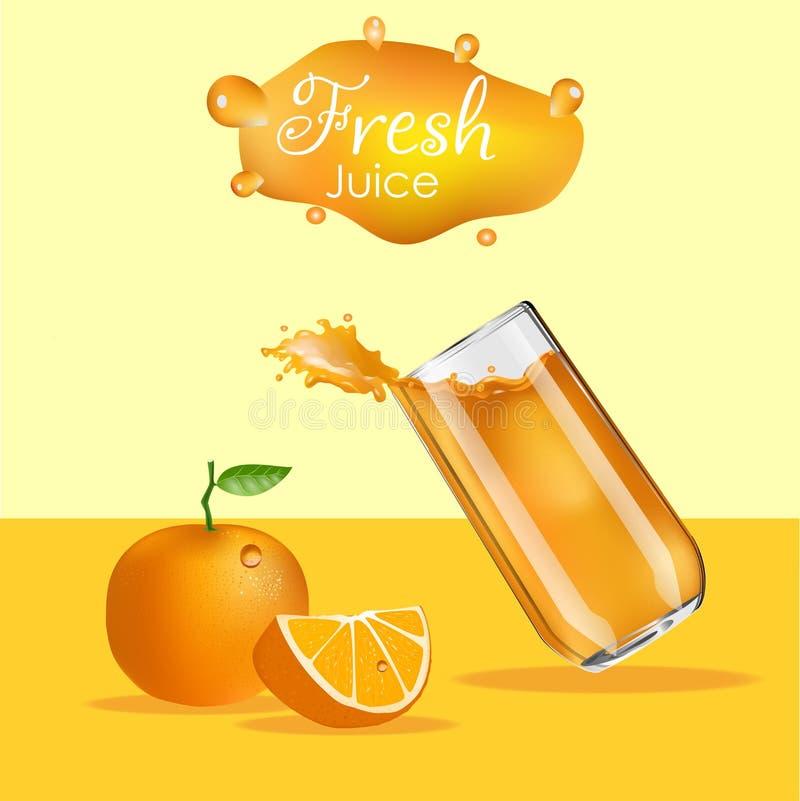 橙汁过去飞溅 飞溅玻璃桔子 向量例证