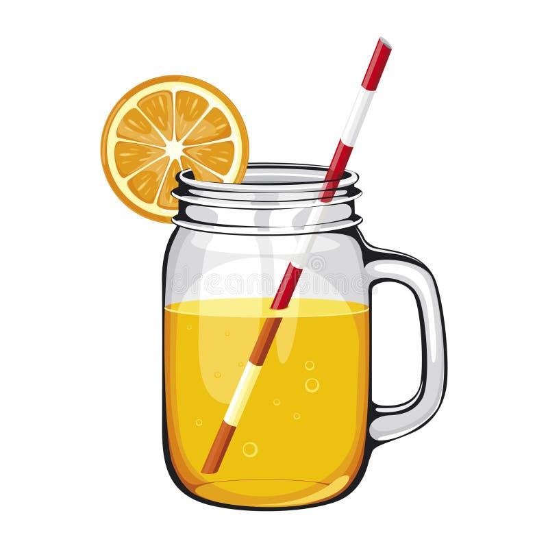 橙汁过去,圆滑的人,在有秸杆的一个金属螺盖玻璃瓶,装饰用橙色切片 向量例证