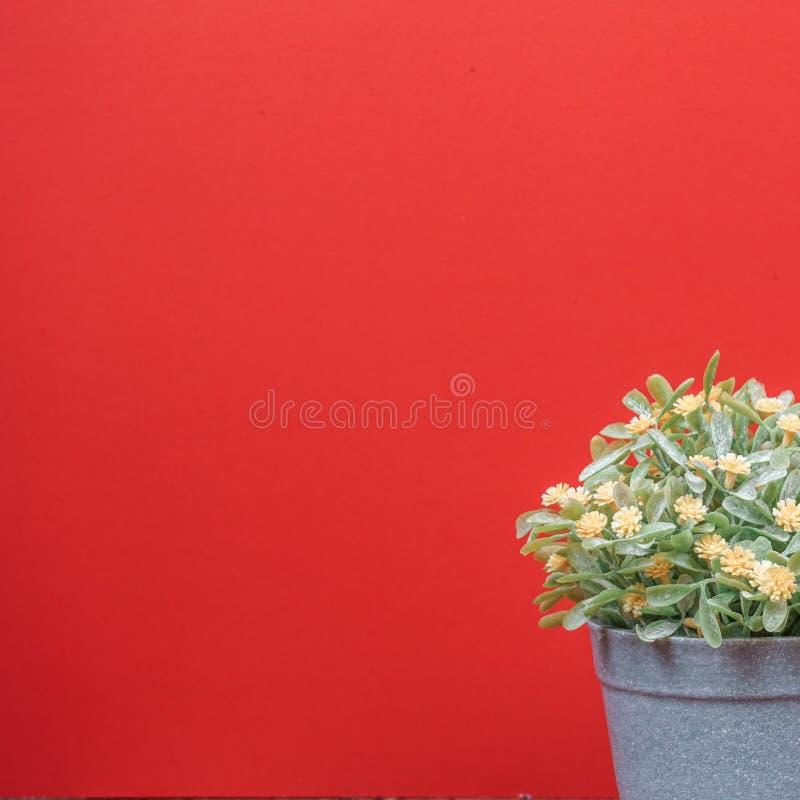 橙红色背景上的假树 库存图片